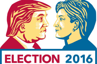 Donald Trump vs. Hillary Clinton art (Shutterstock)