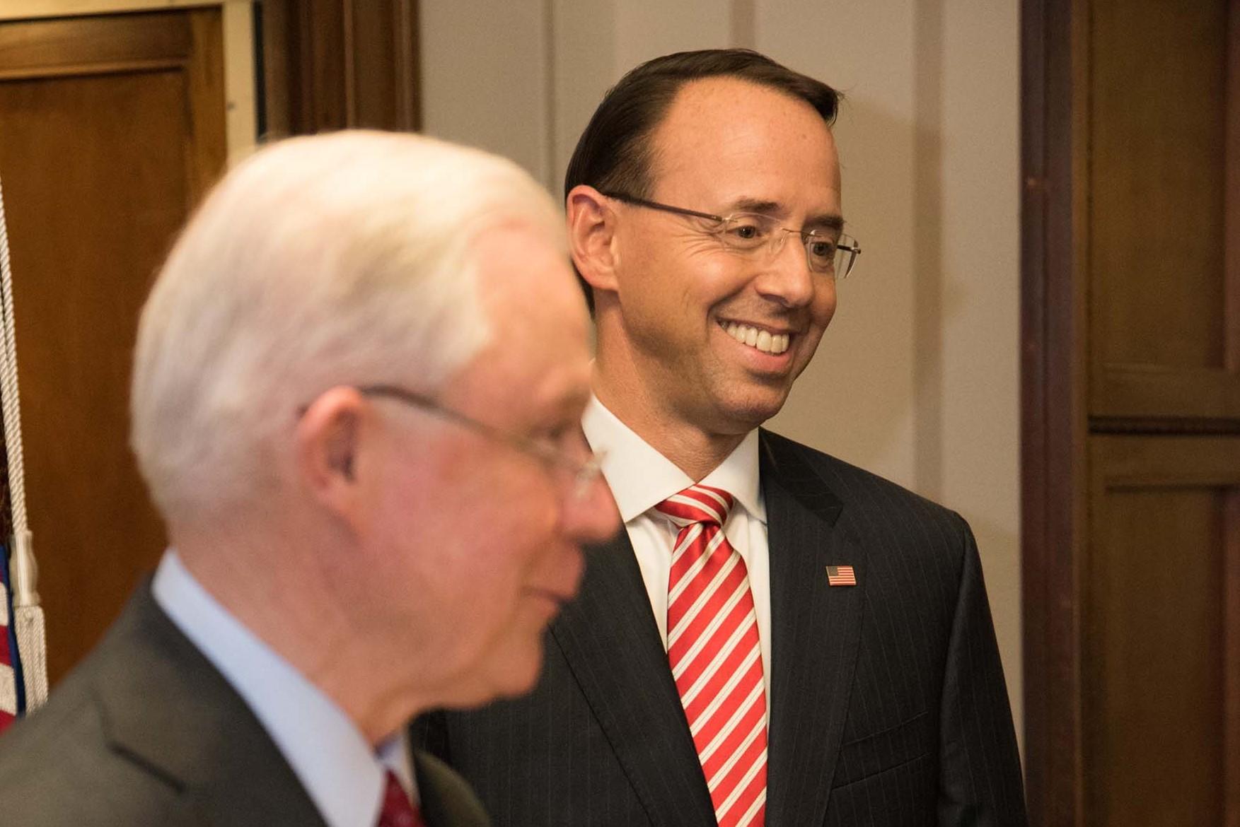Rod Rosenstein, Deputy Attorney General, Jeff Sessions, Attorney General