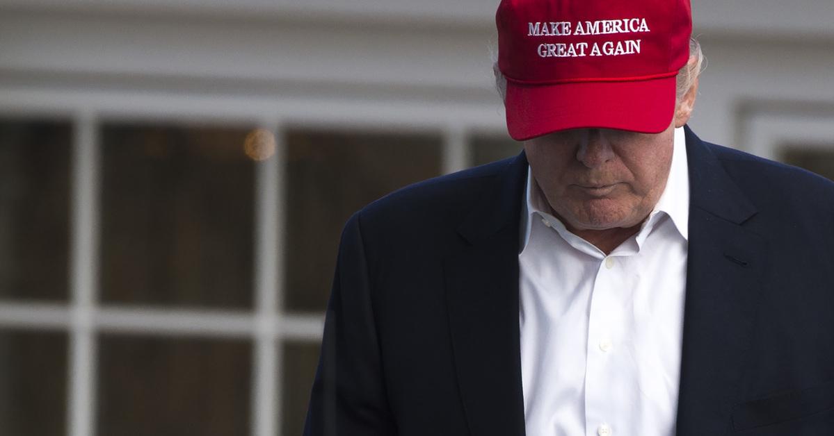 Trump looks sad in a picture