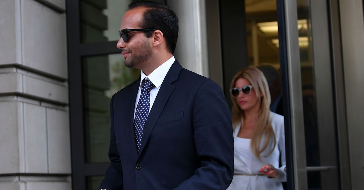 Foreign policy advisor to US President Donald Trump's election campaign, George Papadopoulos and his wife Simona Mangiante Papadopoulos leave the US District Courts after his sentencing in Washington, DC on September 7, 2018. - Papadopoulos was jailed for 14 days for lying to FBI agents over contacts with Russians that set off a federal probe into possible collusion with Moscow. (Photo by MANDEL NGAN / AFP) (Photo credit should read MANDEL NGAN/AFP/Getty Images)
