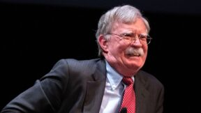Former National Security adviser John Bolton speaks on stage during a public discussion at Duke University in Durham, North Carolina on February 17, 2020. - Bolton was invited to the school to discuss national security weeks after he was thought of as a key witness in the impeachment trial of President Donald Trump. (Photo by Logan Cyrus / AFP)