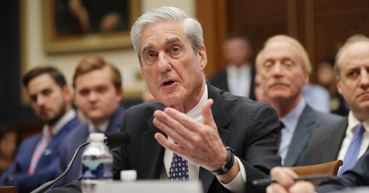 WASHINGTON, DC - JULY 24: Former Special Counsel Robert Mueller testifies before the House Intelligence Committee about his report on Russian interference in the 2016 presidential election in the Rayburn House Office Building July 24, 2019 in Washington, DC. Mueller earlier testified before the House Judiciary Committee in back-to-back hearings on Capitol Hill.