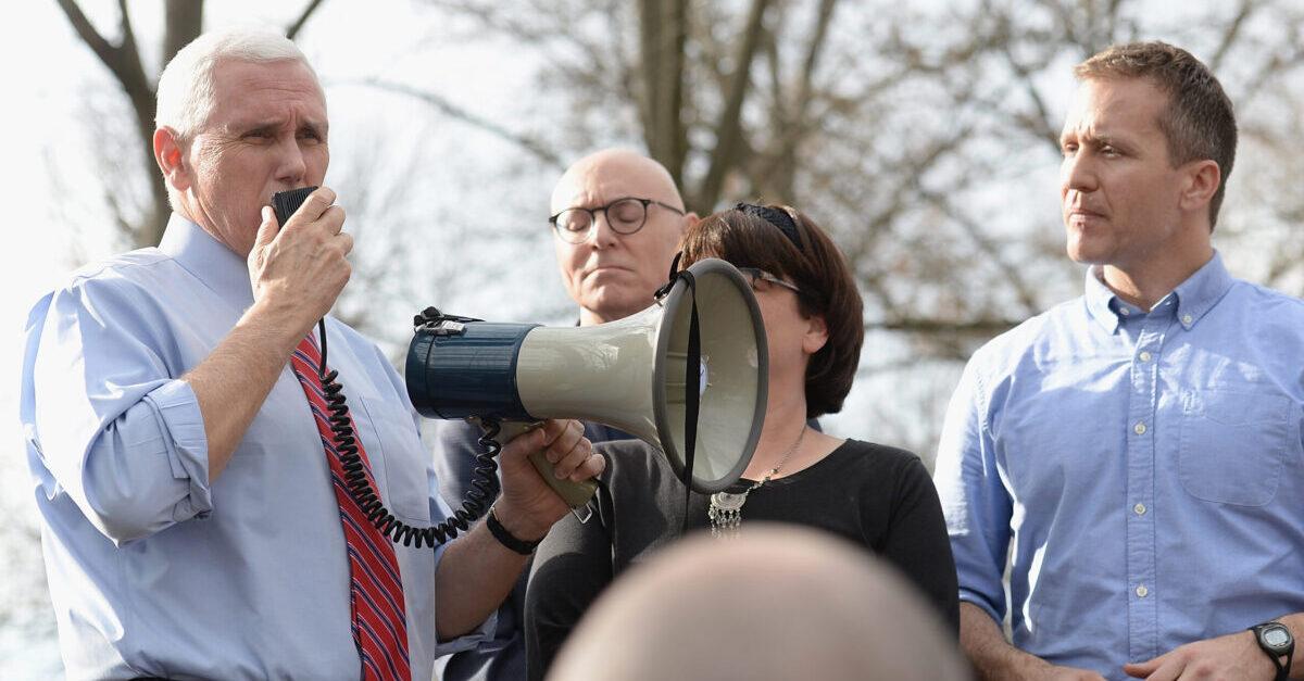 UNIVERSITY CITY, MO - FEBRUARY 22: US Vice President Mike Pence addresses the crowd during a press conference at Chesed Shel Emeth Cemetery on February 22, 2017 in University City, Missouri. Governor Eric Greitens (L) and Pence were on hand to speak to over 300 volunteers who helped cleanup after the recent vandalism. Since the beginning of the year, there has been a nationwide spike in incidents including bomb threats at Jewish community centers and reports of anti-semitic graffiti. (Photo: Michael Thomas/ Getty Images)