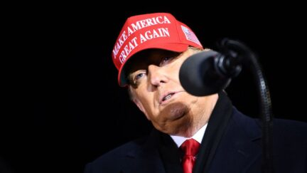 Donald Trump speaks during his final Make America Great Again rally of the 2020 US Presidential campaign