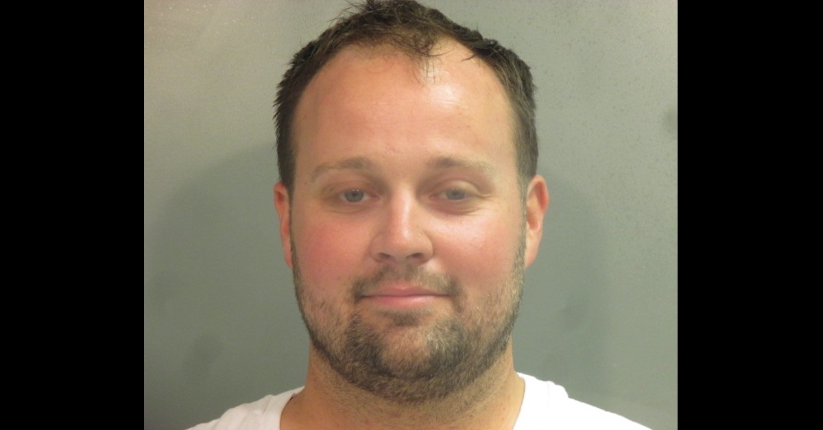 Josh Duggar is seen in a Washington County, Arkansas jail mugshot.