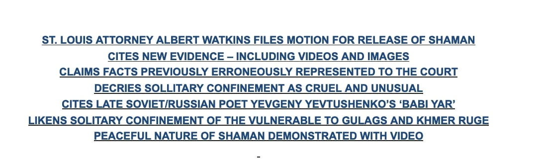 Watkins press release comparing Jacob Chansley's detention to Soviet gulags and Cambodian genocide