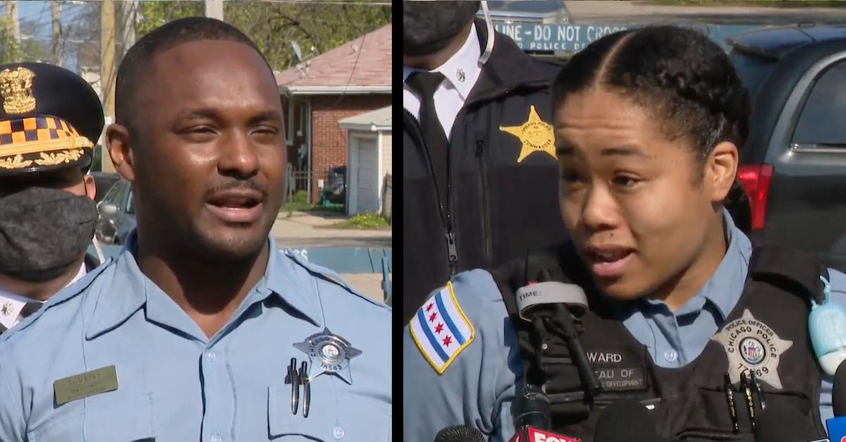 Image of Julius Givens and Rhonda Ward at a press conference.
