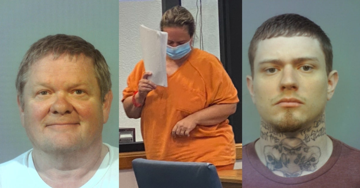 Mugshot of Robert Bellar, image of Deborah Bellar in court, mugshot of Jonathan Bellar.