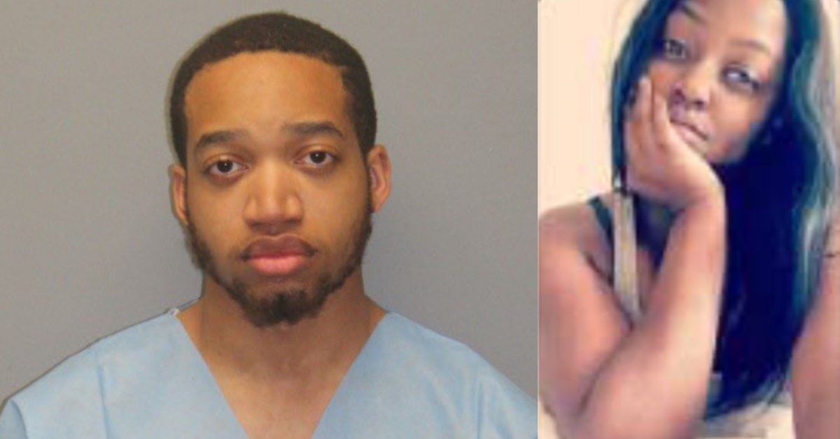 left-hand side of picture shows mugshot of Tahj Hutchinson; right-hand side shows image of Jessica Edwards