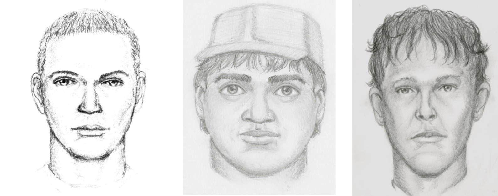 Sketches of three suspects in Maggie Long murder