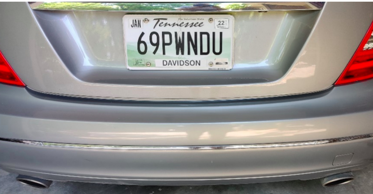 Leah Gilliam's vanity license plate