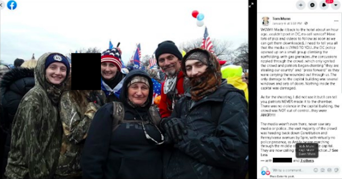 Munn family picture from U.S. Capitol on Jan. 6