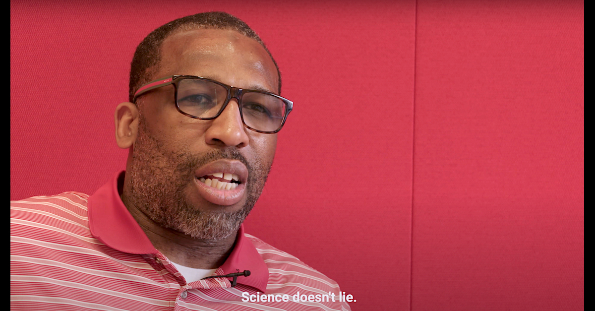 Anthony Wright is seen in a freeze frame taken from an Innocence Project video about his 25 years in prison.