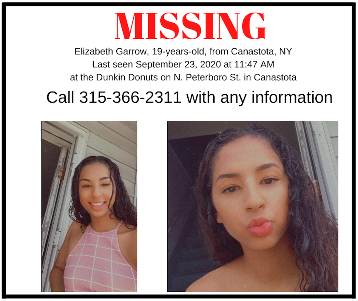 A missing poster disseminated by the Madison County, N.Y. Sheriff's Department portrays Lizzie Garrow.