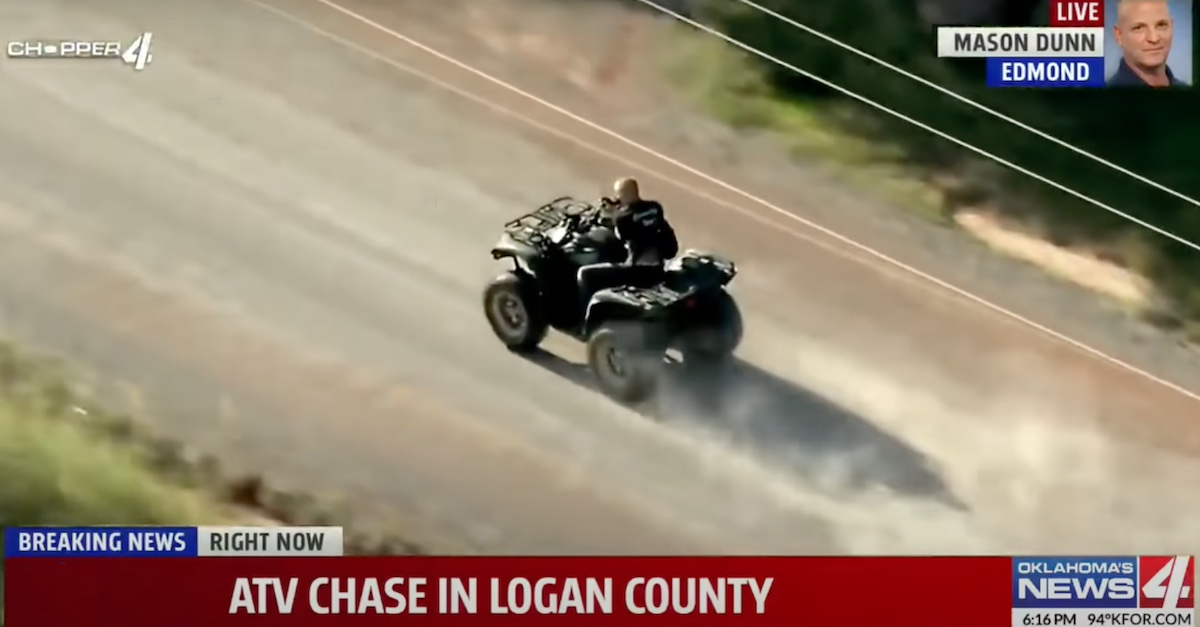 A screengrab from KFOR-TV shows a defendant identified as Lucas Strider barreling down a gravel road near Oklahoma City in what the television station's helicopter crew described as a 70-mile-per-hour chase.