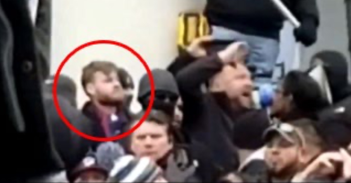 InfoWars host Owen Shroyer appears in a screengrab taken from video provided by a tipster to the FBI.