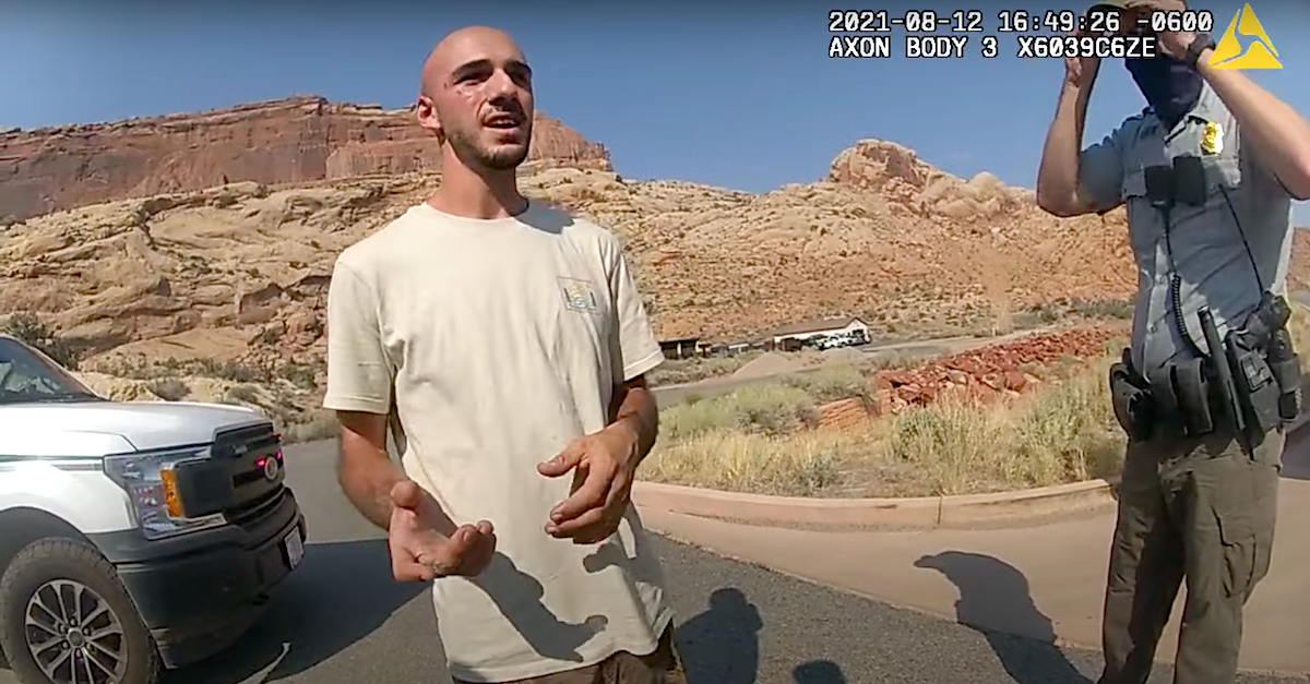 Brian Laundrie appears in an Aug. 12, 2021 Moab, Utah police body camera video.