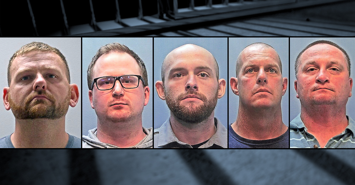 A mugshot array shows Aurora, Colo. Officers Randy Roedema and Nathan Woodyard, former officer Jason Rosenblatt, and paramedics Peter Cichuniec and Jeremy Cooper. All five are indicted in the death of Elijah McClain.
