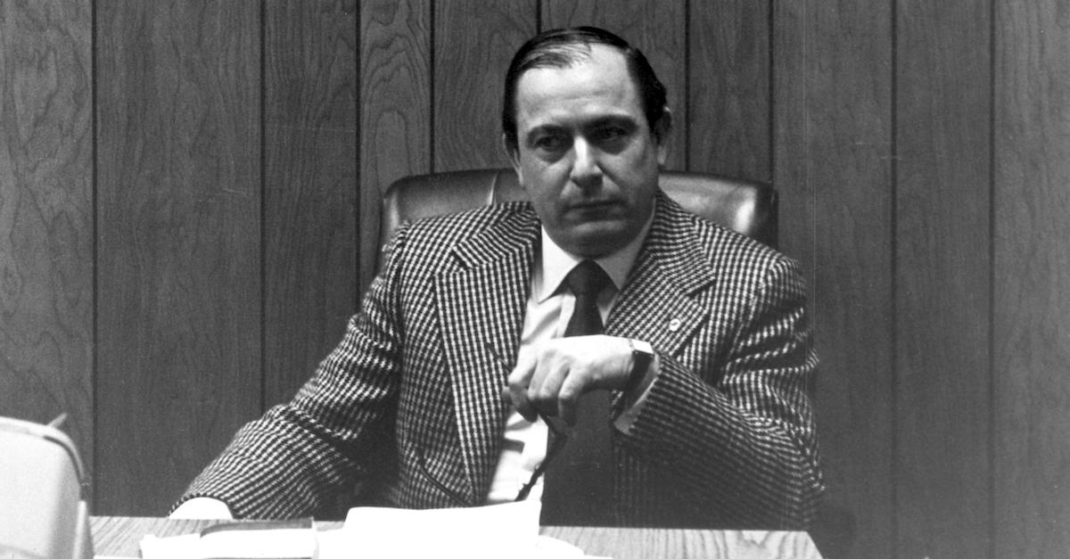 Former American organized crime boss Joseph Colombo (1914 - 1978) sits at his desk in New York City in a 1971 file photo. He was the patriarch of the Colombo organized crime syndicate. (Photo by Express/Getty Images)