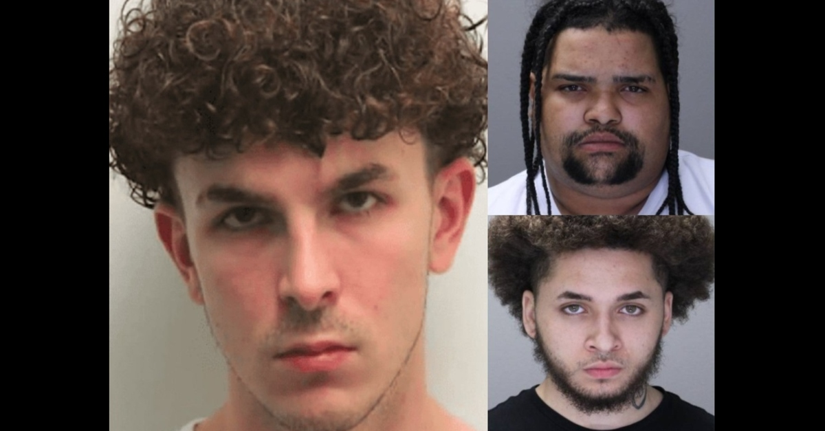 Booking photos of Thomas Bovaird, Eddie Marte (top right), and Malik Weems (bottom right)