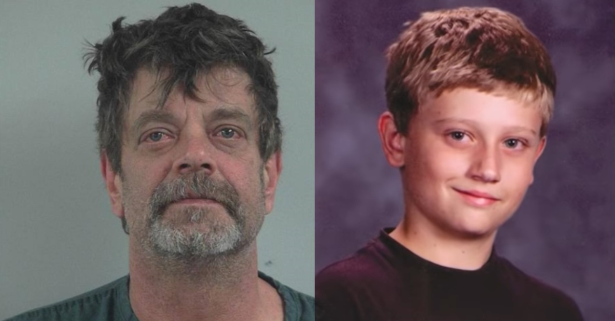 Booking photo of Mark Redwine, and law enforcement handout photo of Dylan Redwine