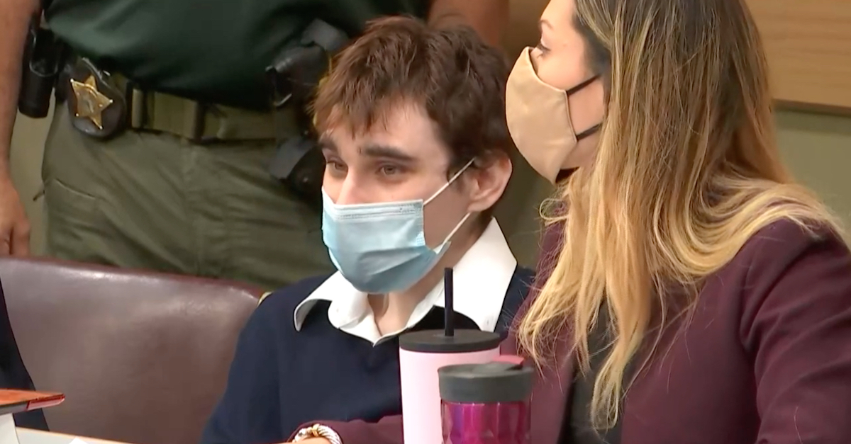 Nikolas Cruz looks on during an Oct. 6, 20021 court appearance. (Image via screengrab from the Law&Crime Network.)