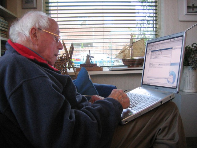 Old Man on Computer
