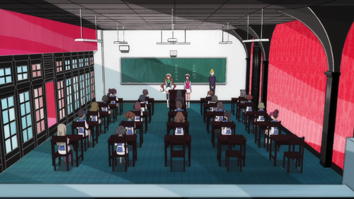 Check out that back row of desks. Nothing but our young couple, there.