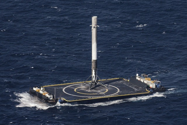 Falcon 9 rocket first stage on drone ship