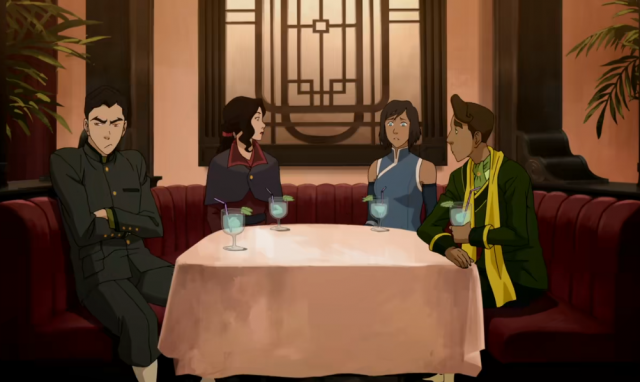 Korra and friends in a restaurant booth