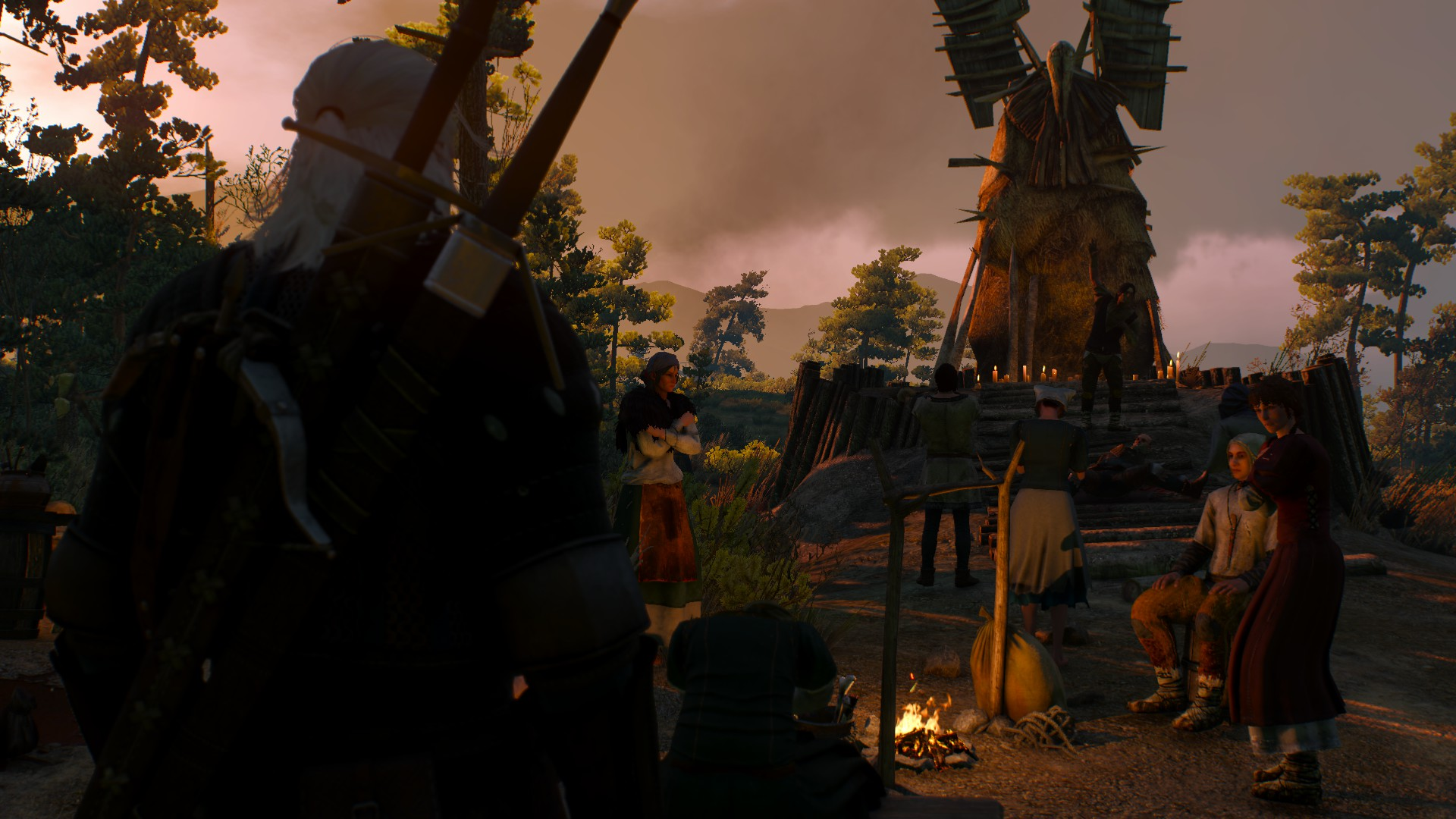 A particularly well dressed batch of commonfolk in Witcher 3.