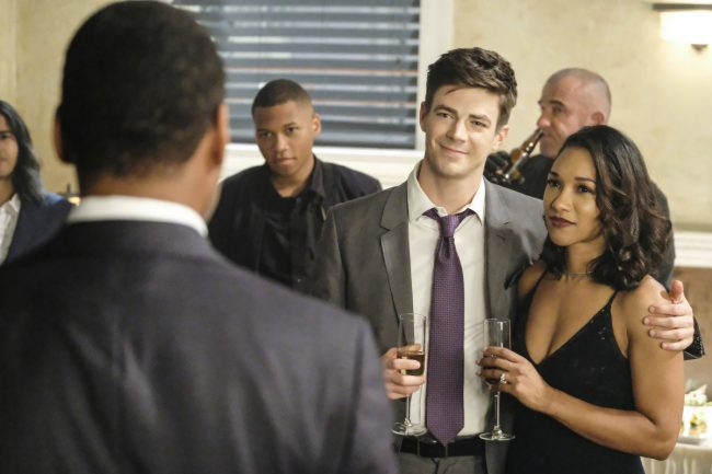 """image: Bettina Strauss/The CW Supergirl -- """"Crisis on Earth-X, Part 1"""" -- Pictured (L-R): Grant Gustin as Barry Allen and Candice Patton as Iris West -- © 2017 The CW Network, LLC. All Rights Reserved"""