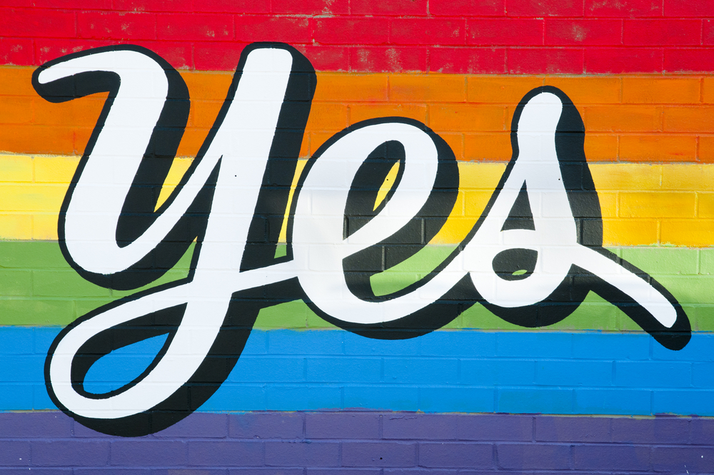 "Shutterstock image of ""Yes,"" supporting marriage equality and LGBT rights in Australia"