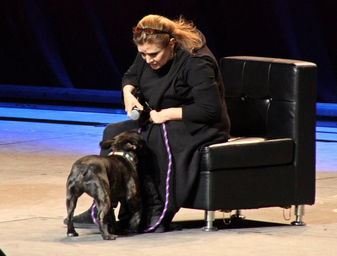Carrie Fisher and dog