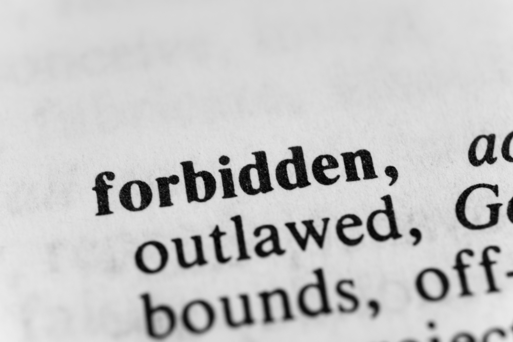 """Shutterstock image of the dictionary definition of """"forbidden"""""""