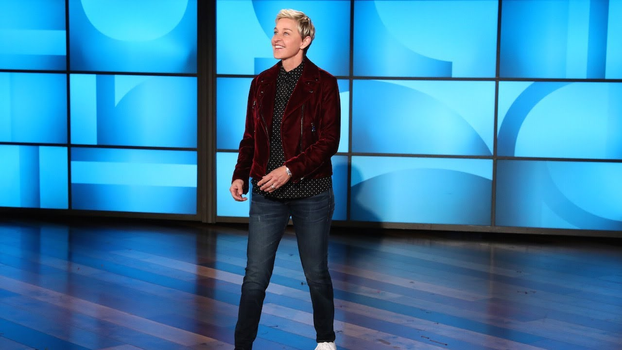 Ellen DeGeneres on stage on her show.