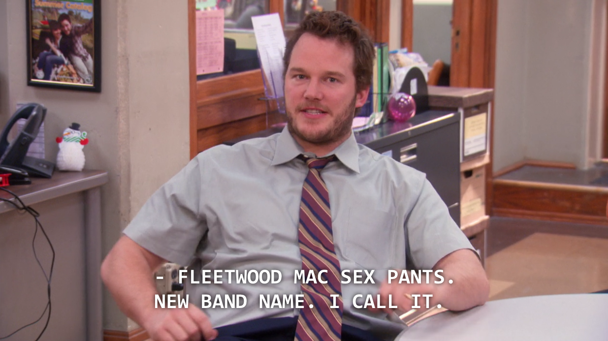 Andy Dwyer calls band name Fleetwood Mac Sex Pants