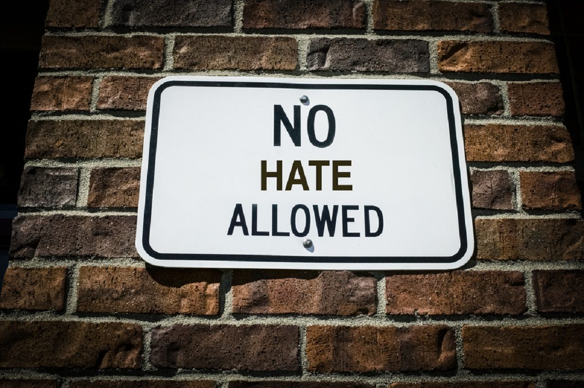 """Shutterstock image that says """"No Hate Allowed"""" discrimination"""