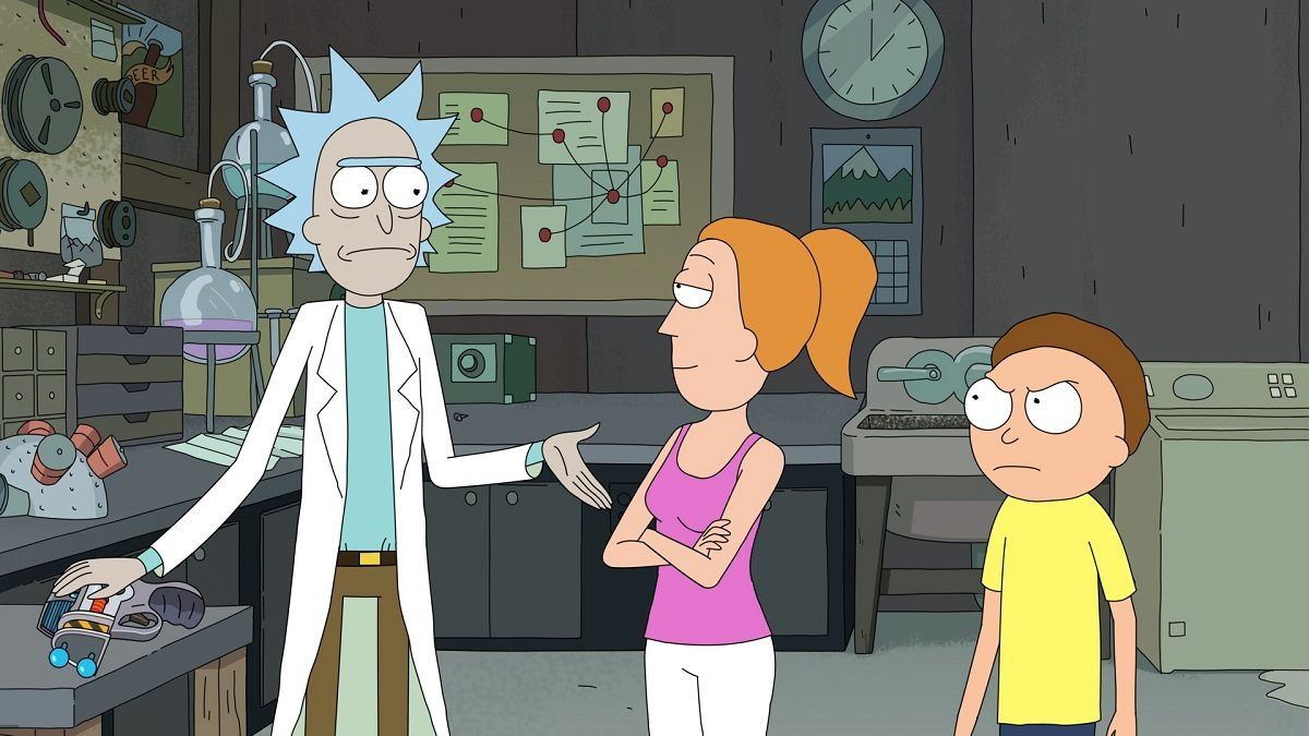 """Still of Rick, Summer, and Morty from Season 3 of """"Rick and Morty"""" (Credit: Adult Swim)"""