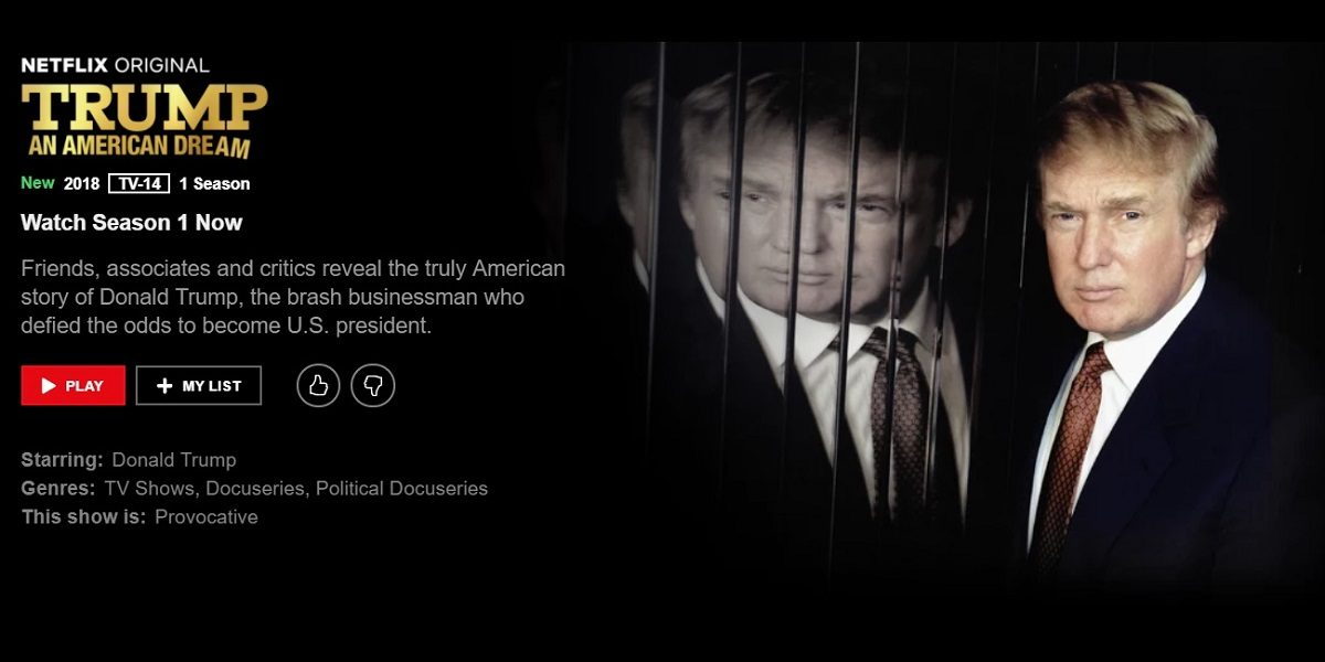 """Screengrab of the Netflix summary for """"Trump: An American Dream"""""""