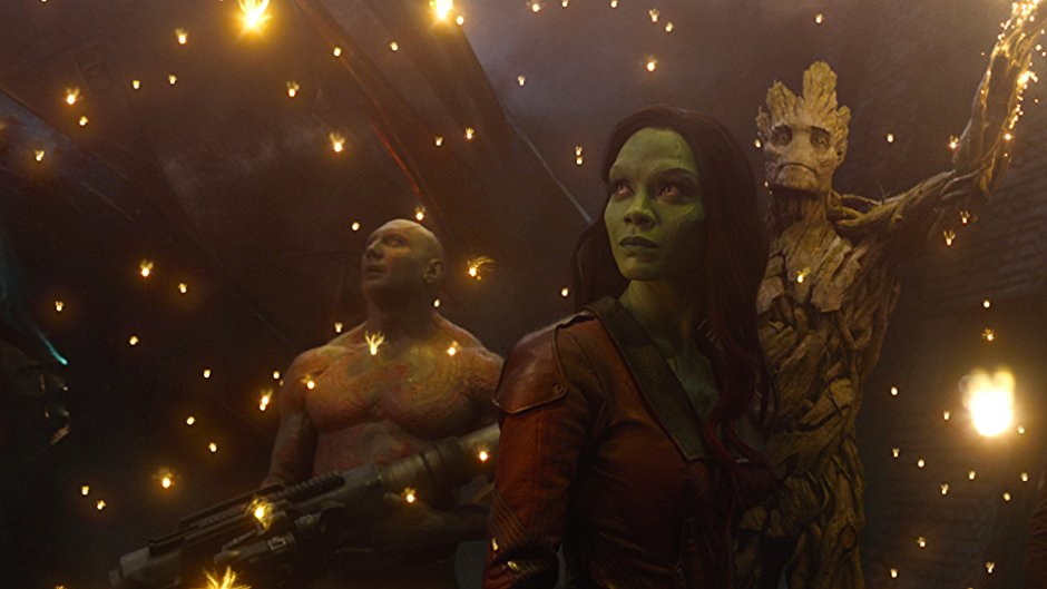Gamora, Drax, and Groot in Guardians of the Galaxy