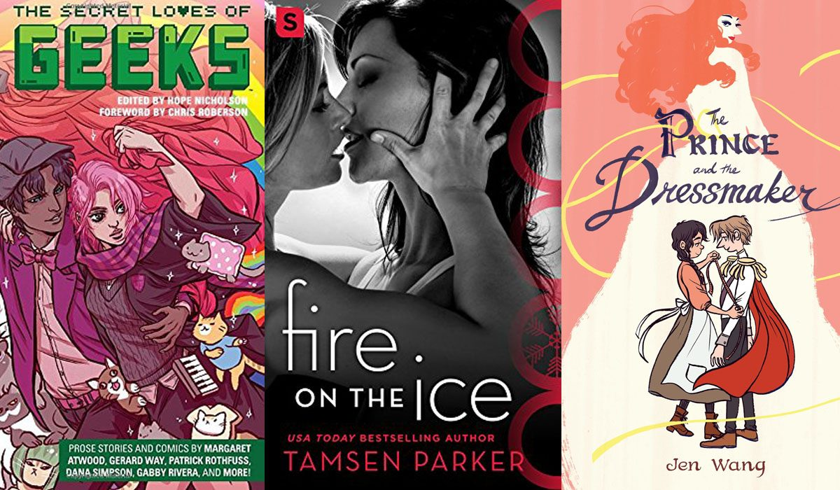Secret Loves of Geeks, Fire on the Ice, and The Prince and the Dressmaker book covers