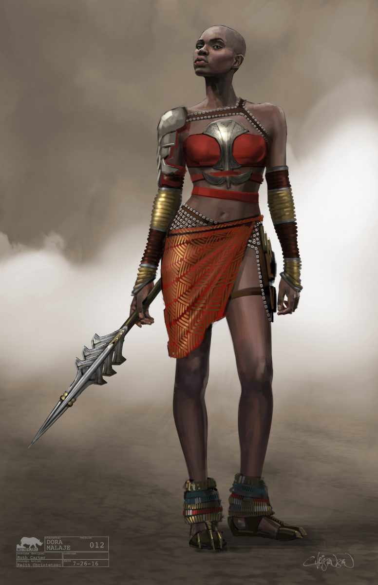 Marvel Studios' BLACK PANTHER..Dora Milaje Conceptual Character and Costume Design Sketch..Costume Design: Ruth Carter.Concept Artist: ..©Marvel Studios 2018