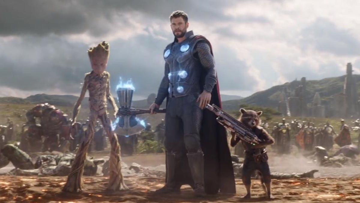 Thor, Rocket, and Groot in 'Avengers: Infinity War'
