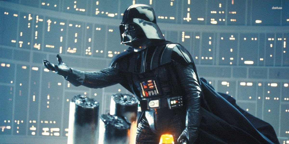 darth vader with hand outstretched to Luke in Star Wars: The Empire Strikes Back