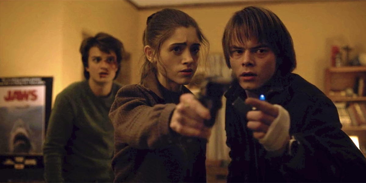 Stranger Things season one saw Steve (Joe Kerry), Nancy (Natalia Dyer), and Jonathan (Charlie Heaton) face off against supernatural monsters and government secrets