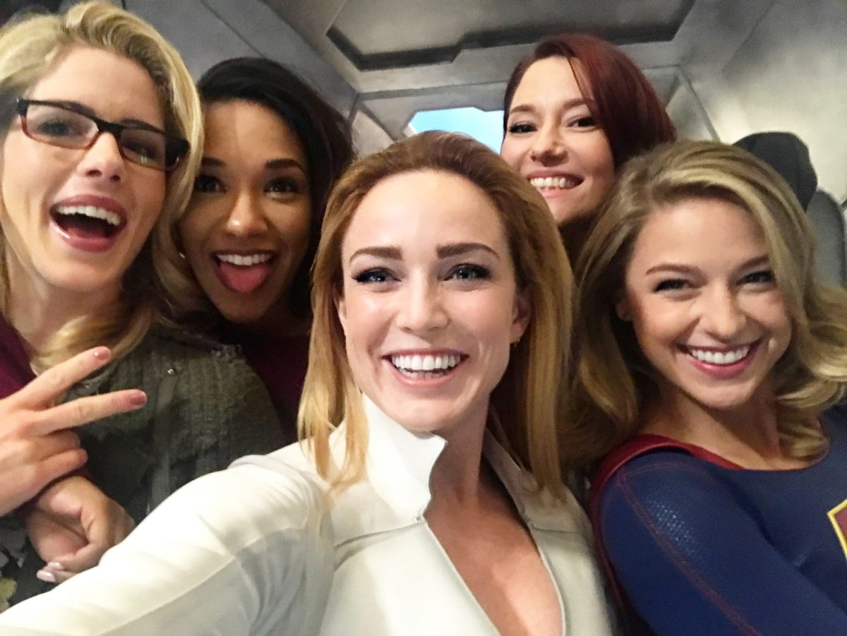 women of DC TV Arrowverse's on The CW pose together