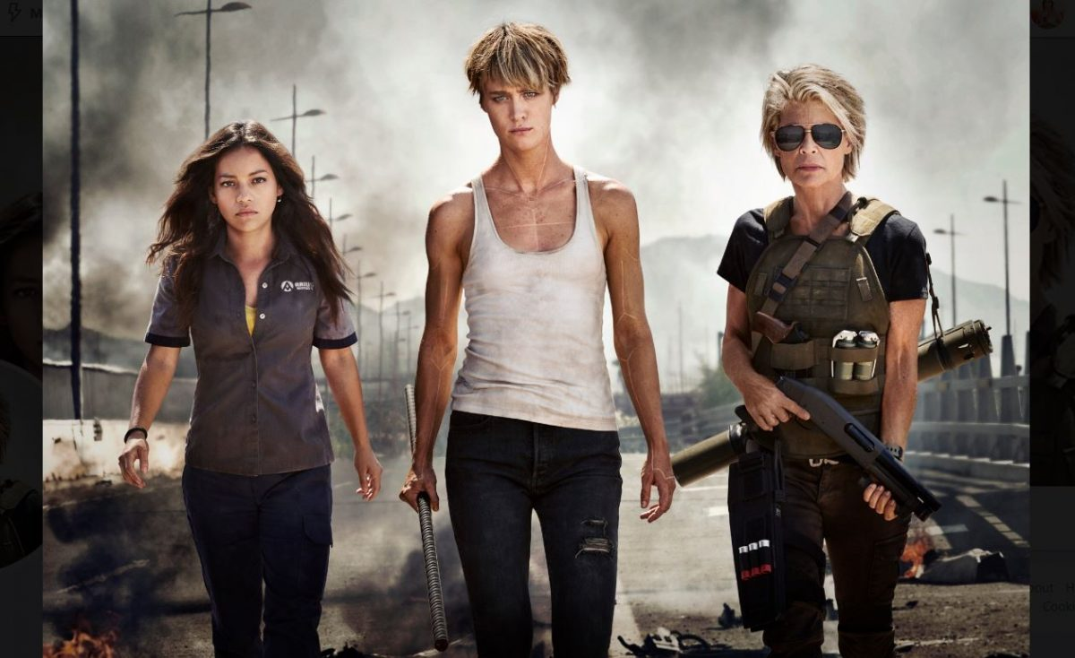 linda hamilton, Mackenzie Davis, and Natalia Reyes in new Terminator promo photo