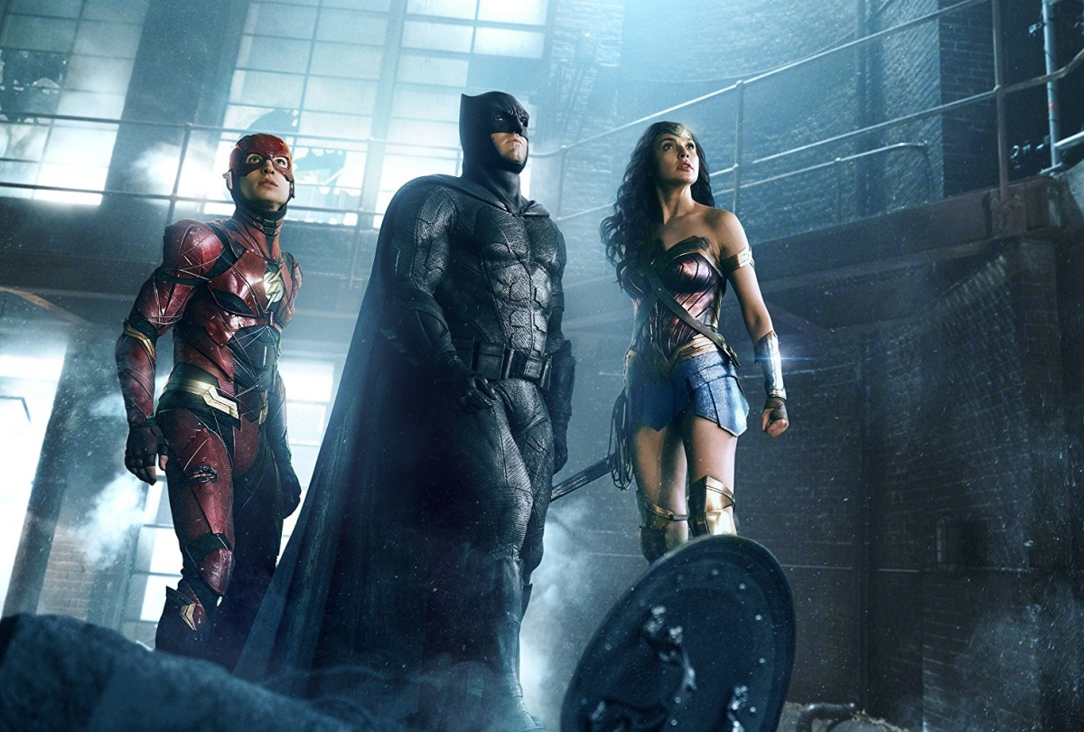 Ben Affleck, Gal Gadot, and Ezra Miller in Justice League (2017)