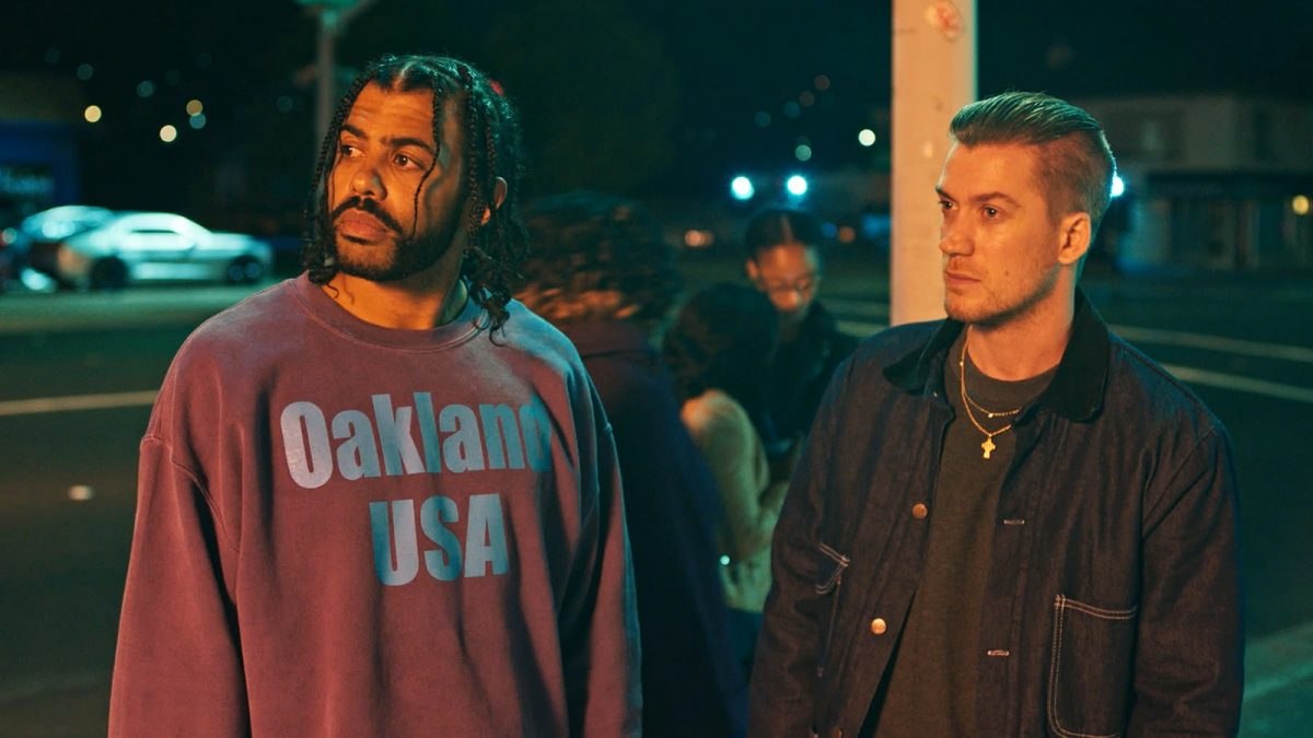 Daveed Diggs and Rafael Casal standing together in Blindspotting trailer still